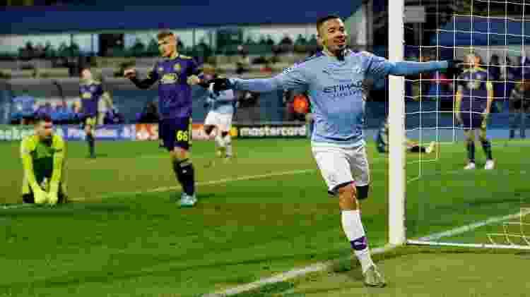 Gabriel Jesus comemora gol do Manchester City diante do Dínamo Zagreb pela Liga dos Campeões da Europa - Matthew Childs/Reuters - Matthew Childs/Reuters