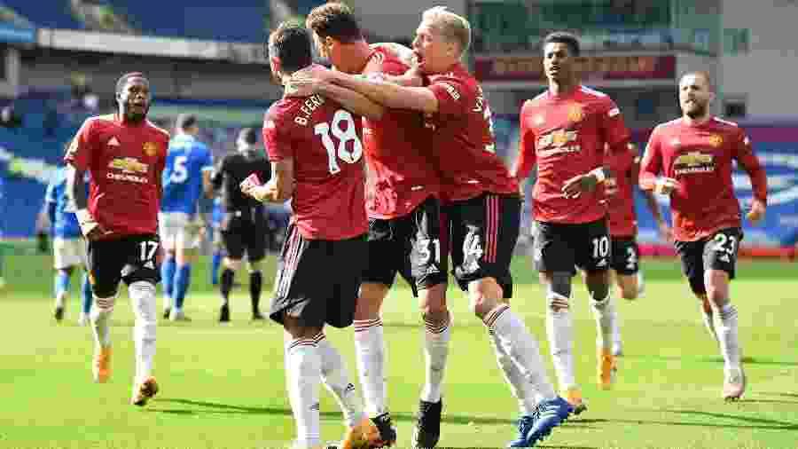 United comemora gol que deu vitória sobre o Brighton - Glyn Kirk/Reuters
