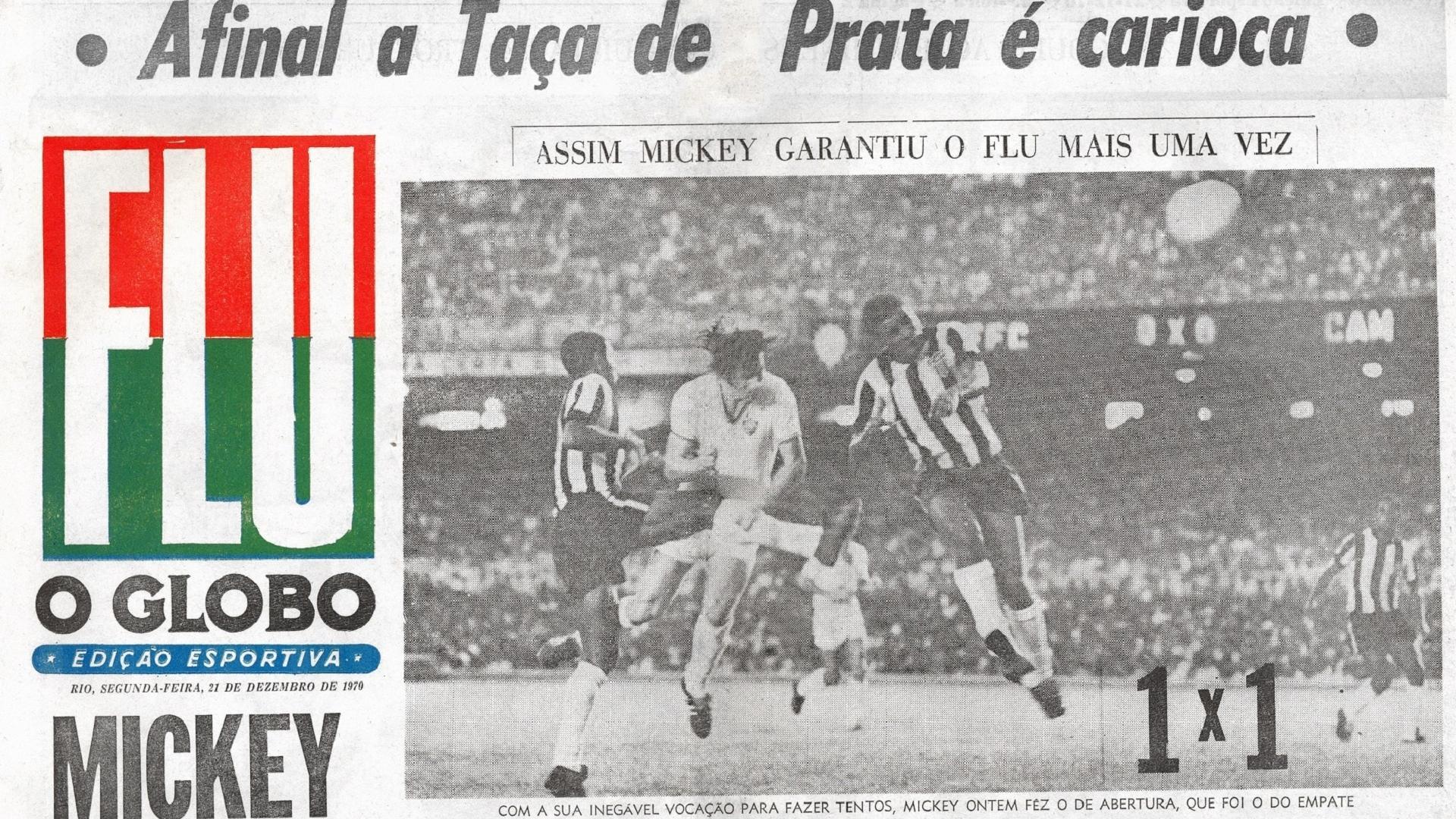 Globo exalta Mickey na final do Robertão de 1970 na conquista pelo Fluminense