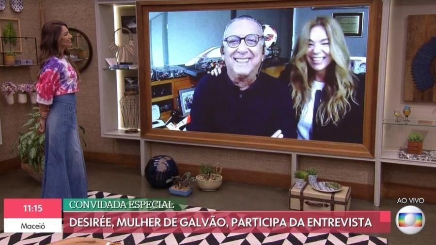 """Galvão Bueno participou do """"É de Casa"""" (TV Globo) ao lado da mulher, Desirée Soares - Reprodução/Globoplay"""