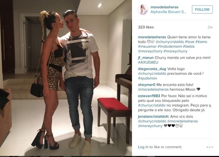 Casal se conheceu quando o atleta jogava pelo Vélez Sarsfield