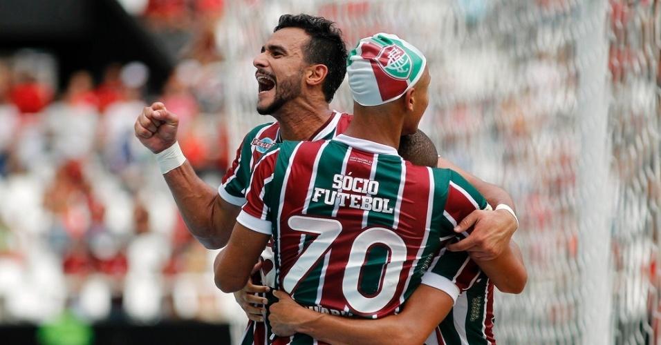 Henrique comemora gol marcado pelo Fluminense no clássico contra o Flamengo