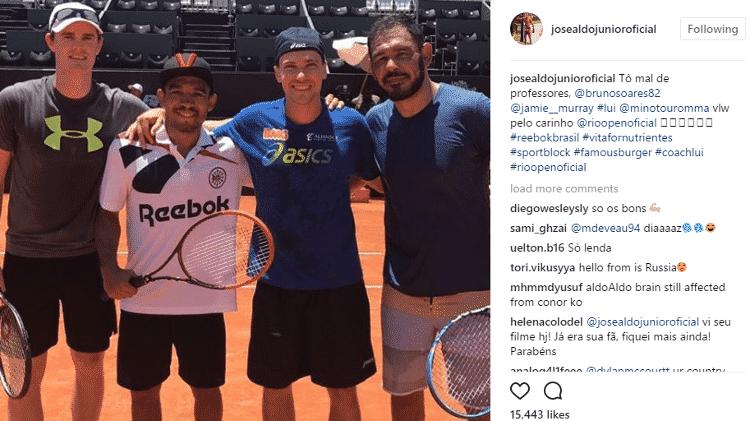 José Aldo em ação de tênis ao lado de Bruno Soares, Minotauro e Jamie Murray - Reprodução/Instagram - Reprodução/Instagram