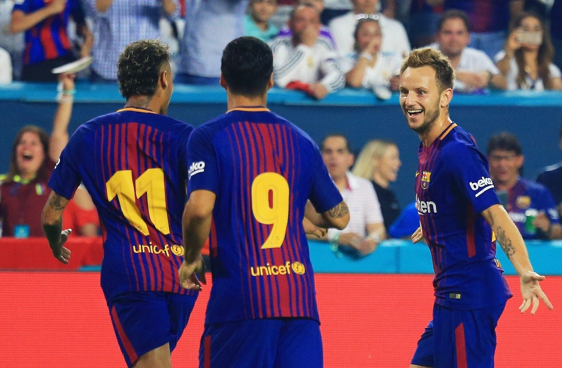 Rakitic comemora o segundo gol do Real Madrid contra o Barcelona