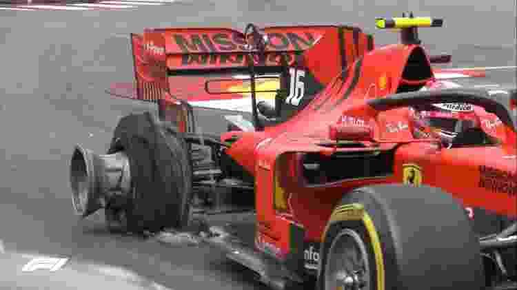 Pneu destroçado deixou lixo na pista e exigiu a presença do safety-car em Monte Carlo - Divulgação/F1