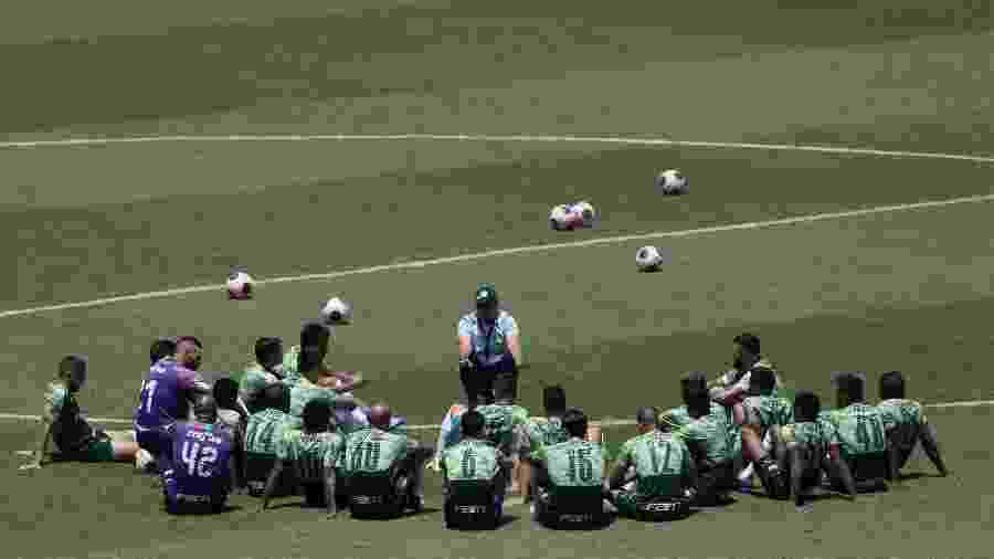 Vanderlei Luxemburgo conversa com o elenco do Palmeiras em treino realizado no começo do ano - Cesar Greco/Ag. Palmeiras