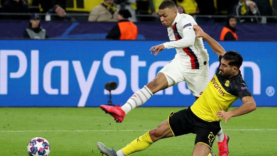 Mbappé durante partida do PSG contra o Borussia Dortmund - Joachim Bywaletz