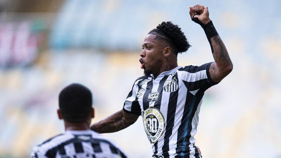Marinho homenageia Pelé após marcar para o Santos contra o Fluminense - Jorge Rodrigues/AGIF