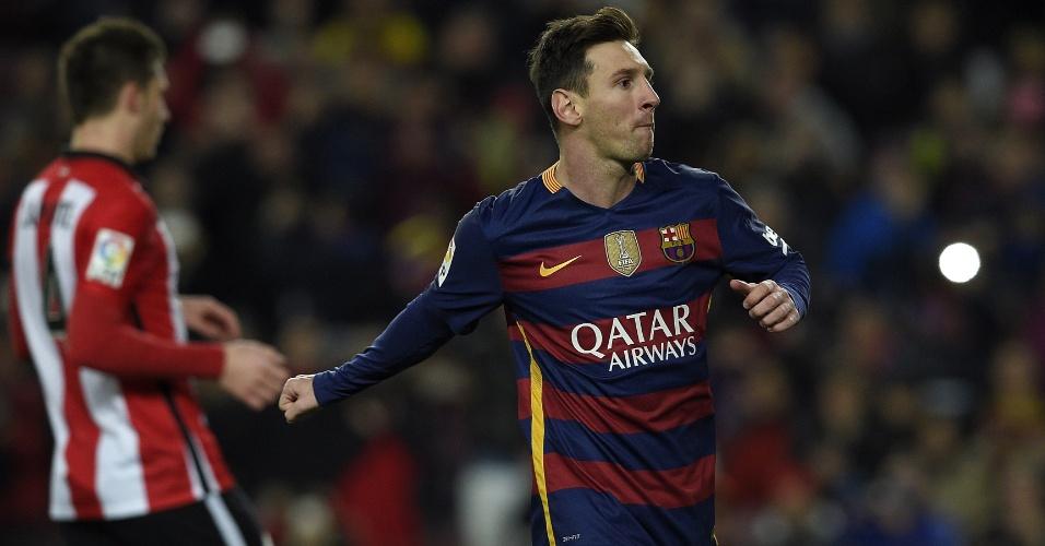 Lionel Messi comemora o seu gol pelo Barça, contra o Athletic Bilbao pelo Campeonato Espanhol