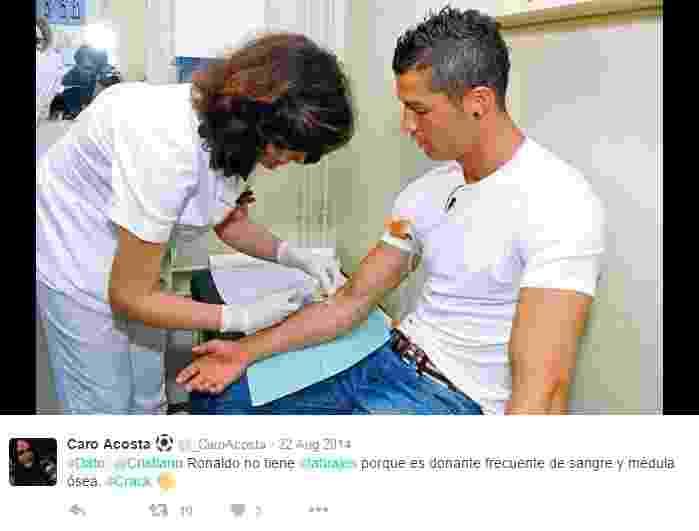Cristiano Ronaldo participa de doação de sangue - Reprodução/Twitter