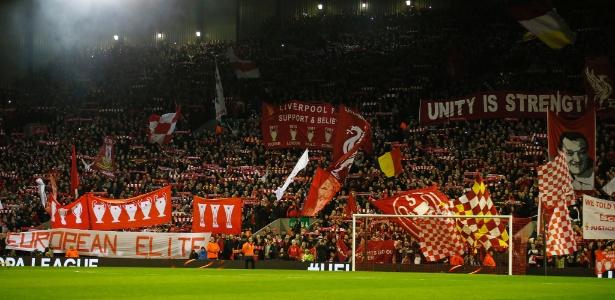 Torcida do United provocou torcida do Liverpool (foto) lembrando mortes em Hillborough