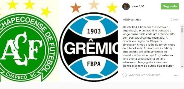 Alex comenta partidas da Chapecoense e Galo x Grêmio e critica os mineiros