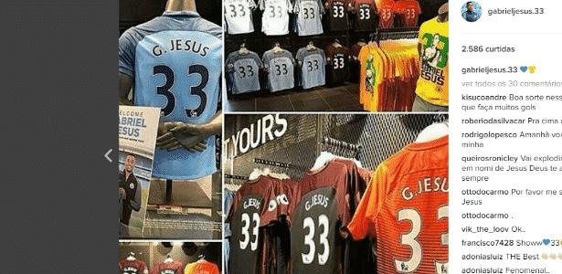 Camisas Gabriel Jesus - Reprodução/Instagram - Reprodução/Instagram