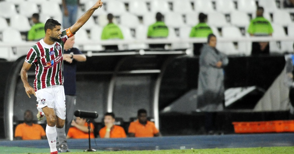 Gum comemora gol para o Fluminense diante do Flamengo nas semifinais da Taça Rio (segundo turno do Campeonato Carioca) de 2018