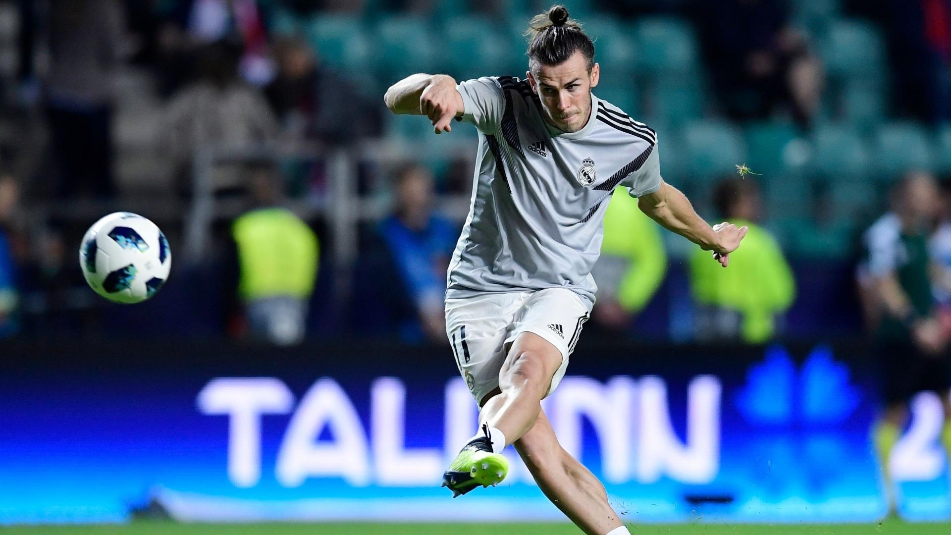 Gareth Bale treina finalizações antes da Supercopa da Europa