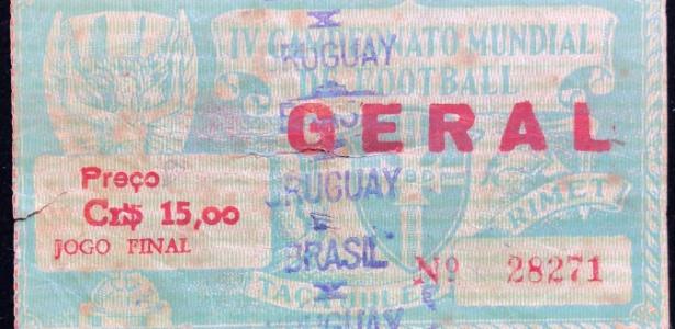 Ingresso de Brasil x Uruguai na final da Copa de 1950 foi arrematado por colecionador - Acervo pessoal