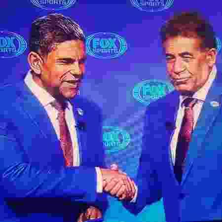 O narrador João Guilherme e o ex-atacante Nunes durante transmissão da Fox na Libertadores 2019 - Reprodução