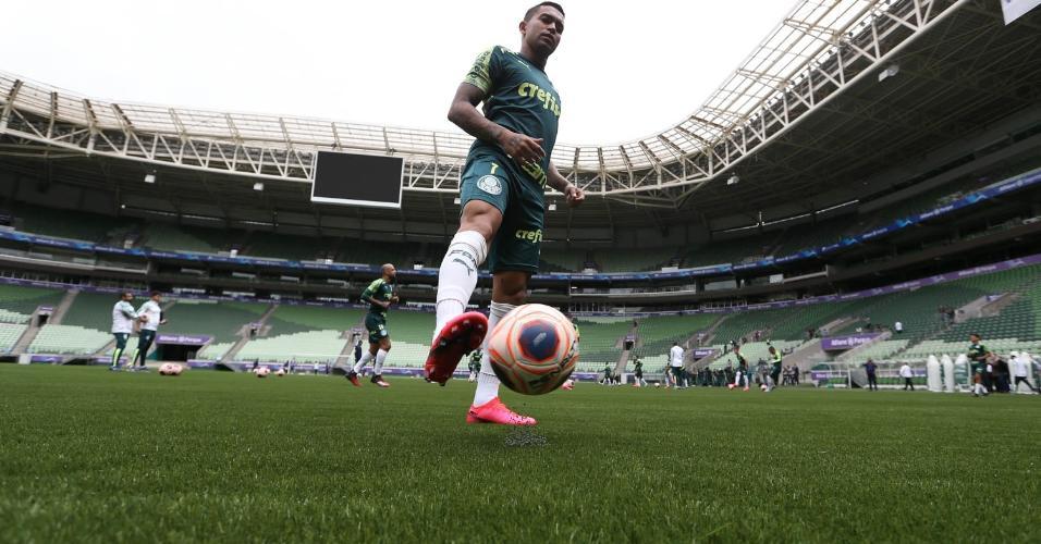 Dudu treina no novo gramado artificial do Allianz Parque