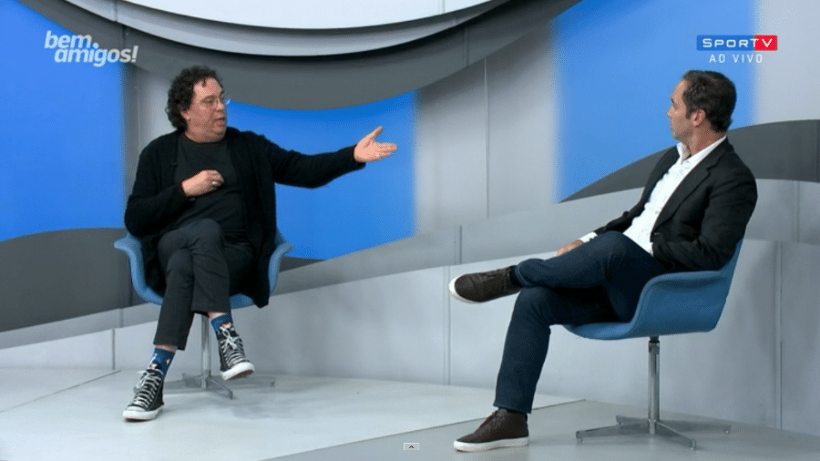 """Caio Ribeiro e Casagrande no """"Bem, Amigos!"""", do Sportv - Reprodução/SporTV"""