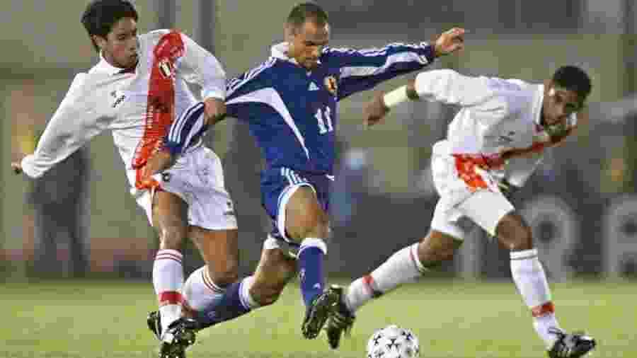 Wagner Lopes em ação pela seleção do Japão: ex-atacante do São Paulo jogou a Copa de 1998 pelo país asiático - Reprodução