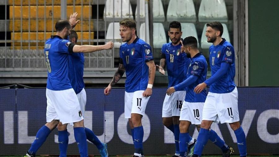 Ciro Immobile comemora gol da Itália contra a Irlanda do Norte pelas Eliminatórias Europeias para a Copa do Qatar - Alessandro Sabattini/Getty Images