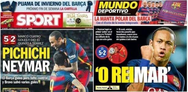 Jornais espanhois exaltaram a atuação de Neymar contra o Rayo Vallecano