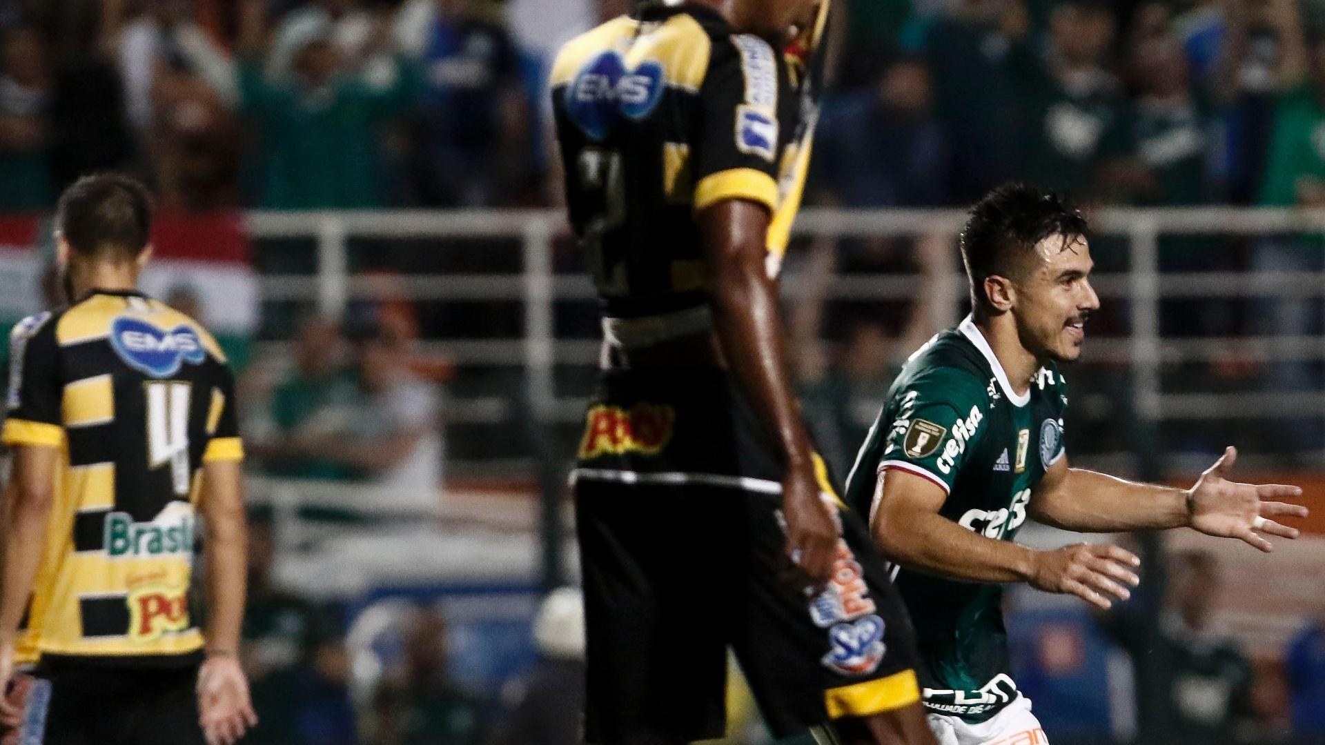 Willian festeja ao abrir o placar para o Palmeiras contra o Novorizontino