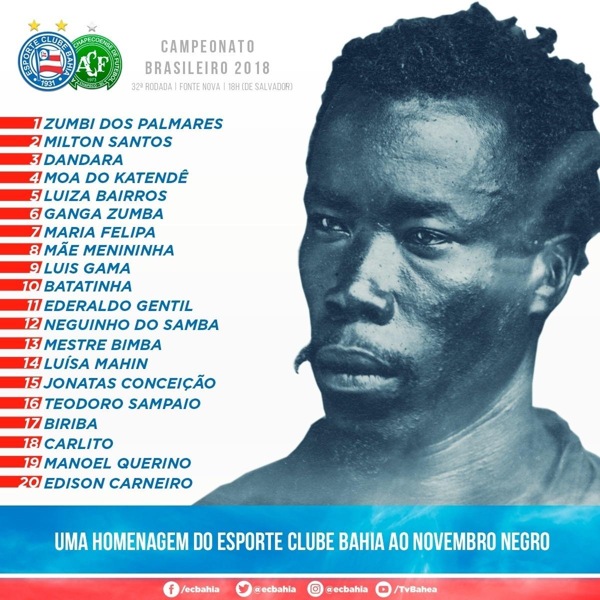 Bahia fará homenagem ao Mês da Consciência Negra contra a Chapecoense