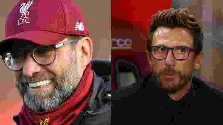 Jürgen Klopp, técnico do Liverpool, e Eusebio di Francesco, ex-treinador da Roma - Paul Ellis/AFP e Alessandro Bianchi/Reuters