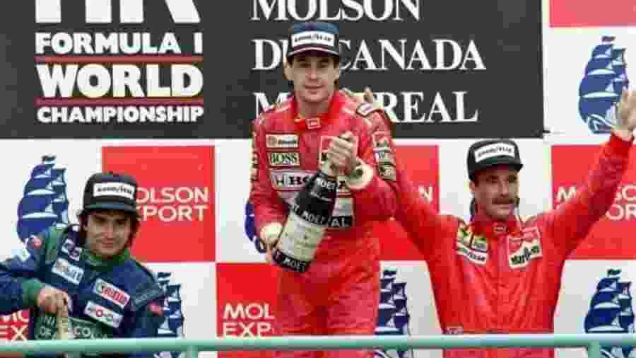 Senna e Piquet celebram no pódio do GP do Canadá sua última dobradinha - Arquivo