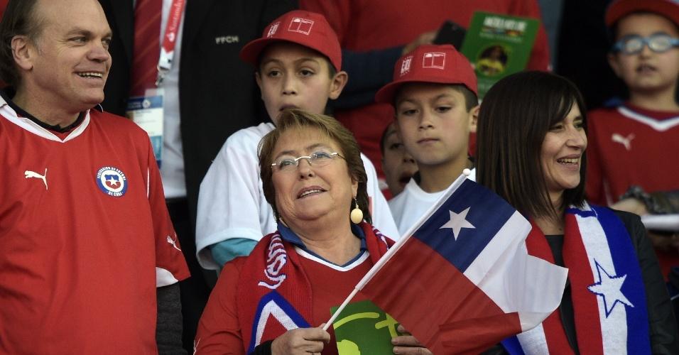 Presidente do Chile, Michelle Bachelet marca presença na final da Copa América