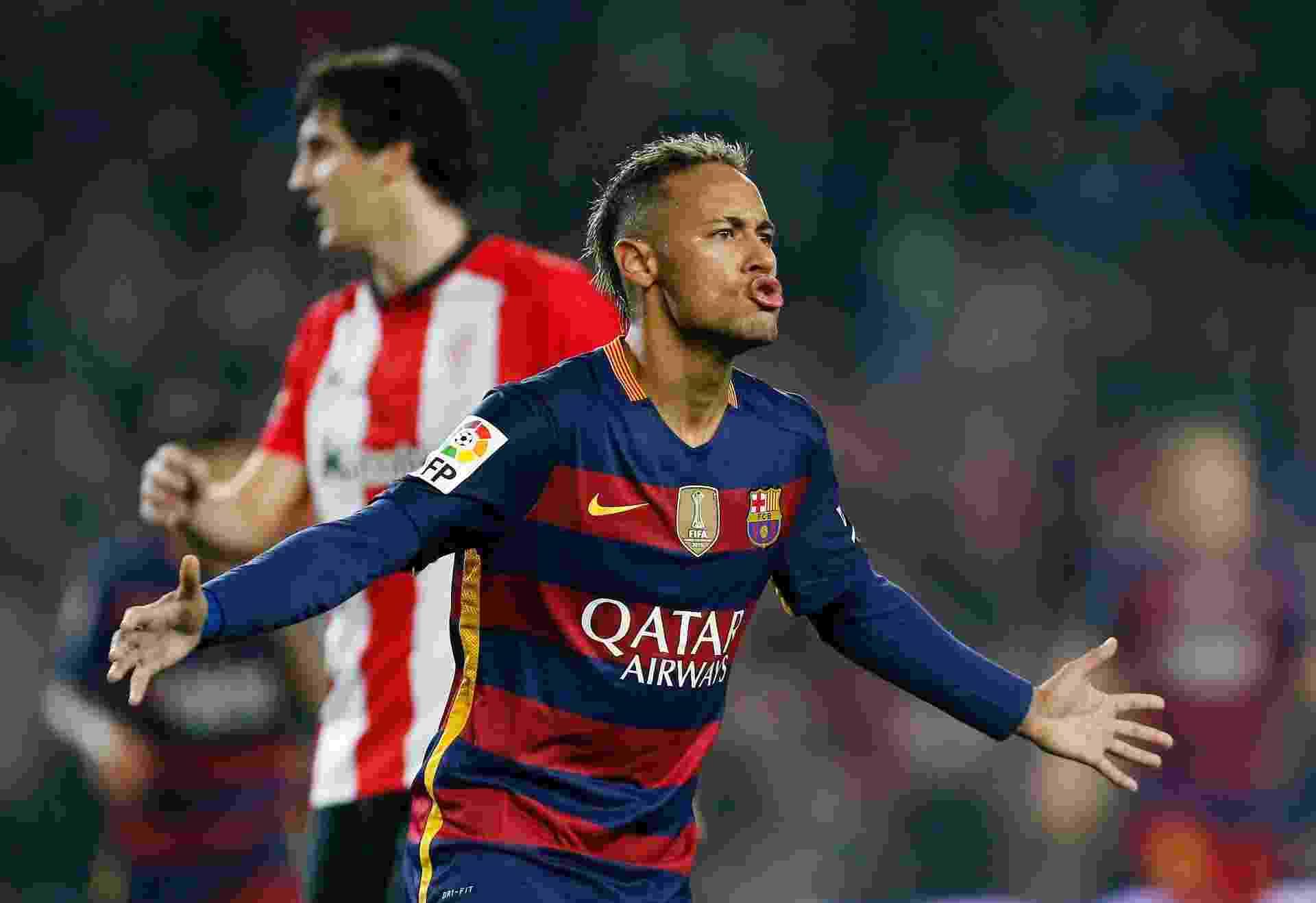 Neymar comemora gol contra o Athletic Bilbao em jogo válido pela Copa do Rei -  EFE/ Alejandro García