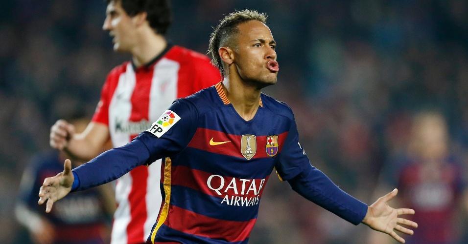 Neymar comemora gol contra o Athletic Bilbao em jogo válido pela Copa do Rei