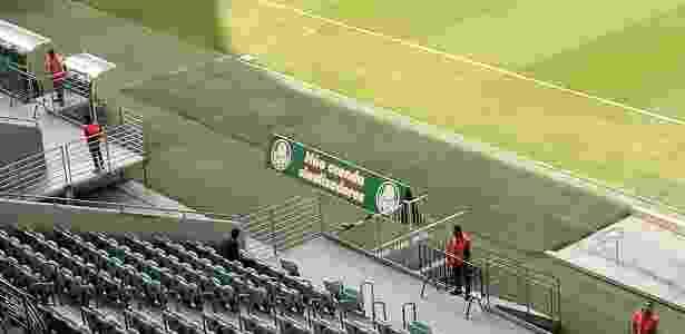 Palmeiras usou o gramado para dar um recado aos torcedores - José Edgar de Matos/UOL Esporte