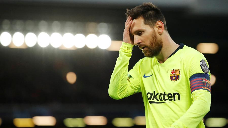 Messi lamenta chance perdida na partida Liverpool x Barcelona - Phil Noble/Reuters