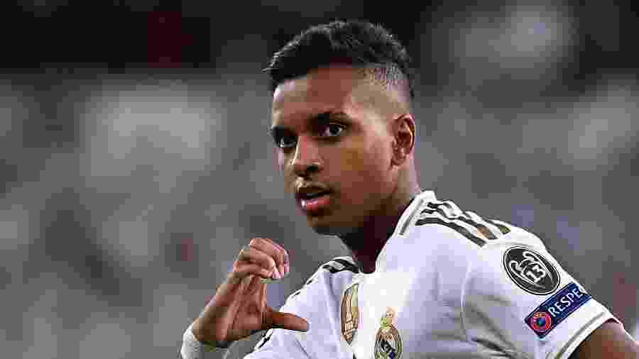 Rodrygo, atacante do Real Madrid, marcou três vezes na partida contra o Galatasaray, pela Liga dos Campeões - Pierre-Philippe Marcou/AFP