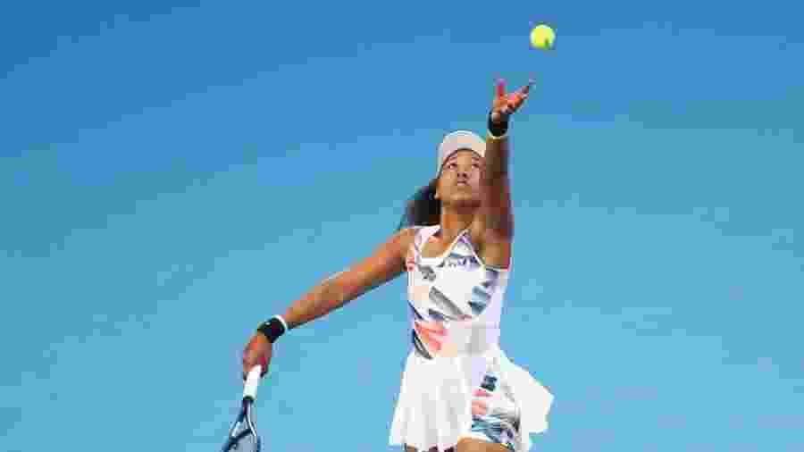 24.jan.2020 - Naomi Osaka durante partida do Aberto da Austrália - Kelly Defina / Getty Images