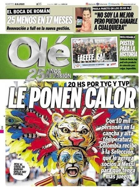 """Capa do jornal argentino """"Olé"""" desta terça (8) - Reprodução"""