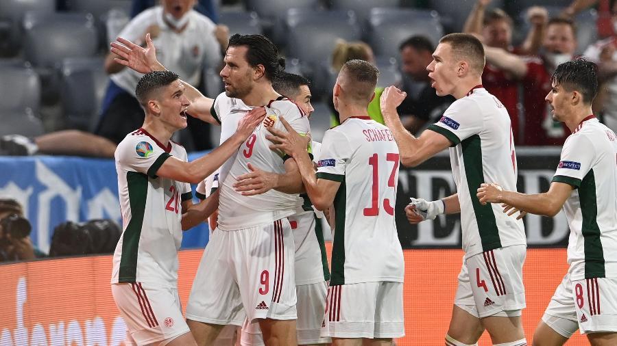 Ádám Szalai comemora gol da Hungria contra a Alemanha pela Eurocopa - Pool via REUTERS