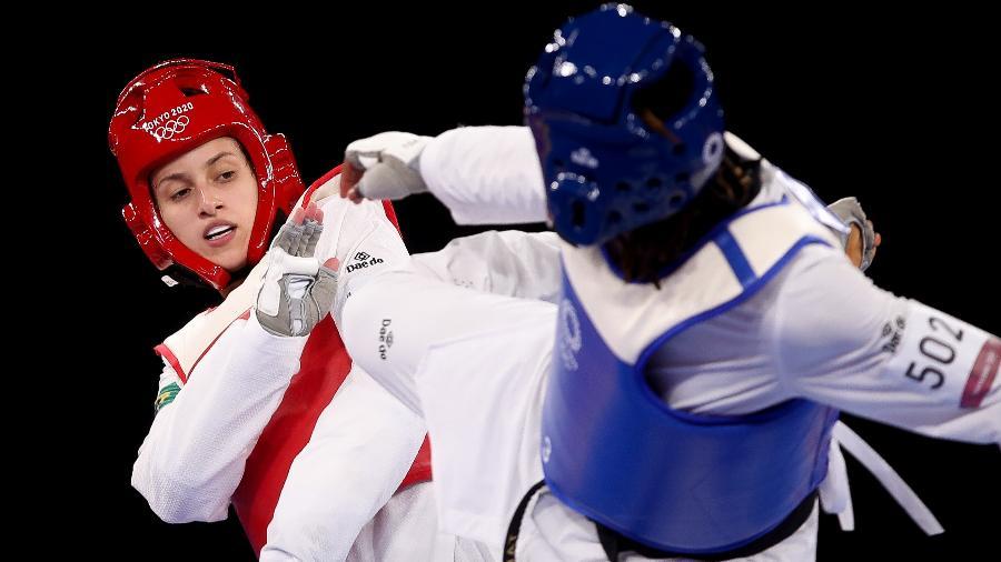 Brasileira Milena Titoneli, do taekwondo feminino categoria até 76kg, na disputa do bronze nos Jogos Olímpicos de Tóquio - Gaspar Nóbrega/COB