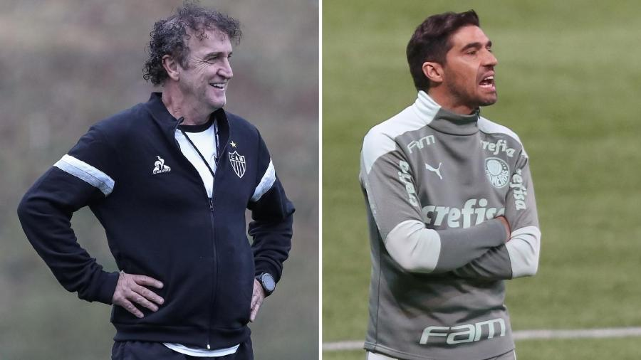 Cuca, técnico do Atlético-MG, e Abel Ferreira, técnico do Palmeiras - Pedro Souza/Atlético-MG e Marcello Zambrana/AGIF