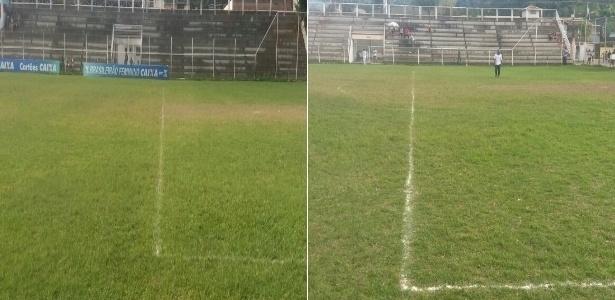 O antes e depois do gramado que rendeu uma derrota por WO ao Duque