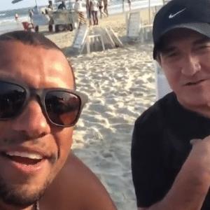 Amoroso gravou vídeo na praia com Muricy