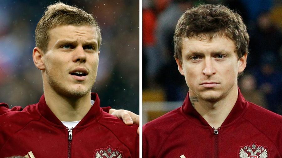 Os jogadores russos Alexander Kokorin (à esquerda) e Pavel Mamayev - REUTERS/Benoit Tessier, Maxim Zmeyev