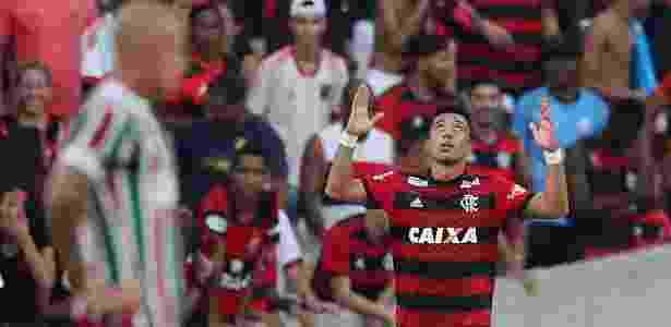 O flamenguista Fernando Uribe fez dois gols no clássico contra o Fluminense - REUTERS/Ricardo Moraes