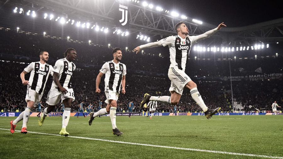 Cristiano Ronaldo comemora gol da Juventus diante do Atlético de Madri na Liga dos Campeões - Marco Bertorello/AFP