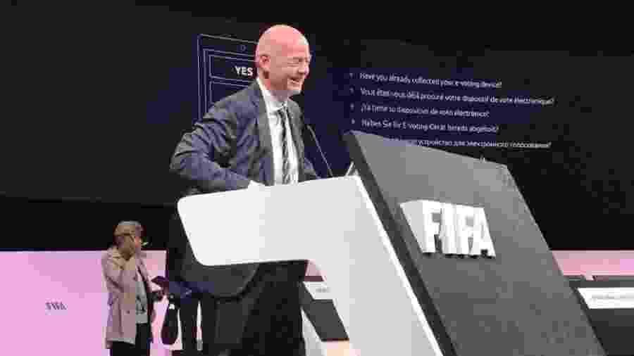 Gianni Infantino, presidente da Fifa, antes da reunião que o reelegeu - Jamil Chade/UOL