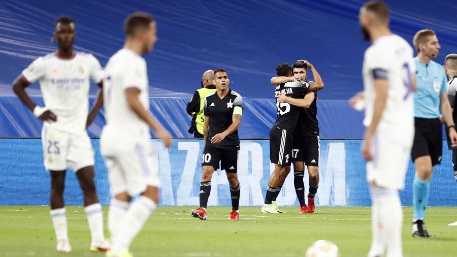 Sheriff Tiraspol comemora gol contra o Real Madrid, pela Liga dos Campeões - REUTERS/Juan Medina