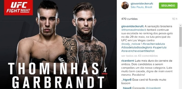 Thomas Almeida enfrentará Cody Garbrandt de olho em disputa de cinturão - Reprodução/Instagram