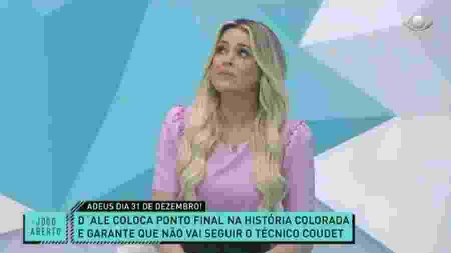 """Renata Fan se emociona com despedida de D""""Alessandro do Inter - Reprodução/Band"""